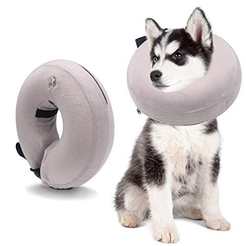 Ducomi Collare Protettivo Gonfiabile per Cane e Gatto per Recupero Postoperatorio dell'Animale Domestico - libertà nei Movimenti e Vista - Previene l'Infezione da Graffi, Leccate e Morsi (Grey, XS)