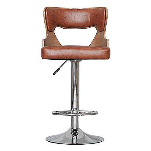 ch-AIR Retro Adjustable Bar Stools,360 Degree Swivel, Bar Creative mit Waffen und Backs High Chair European Chair (Color: Light Brown, Größe: H90cm)