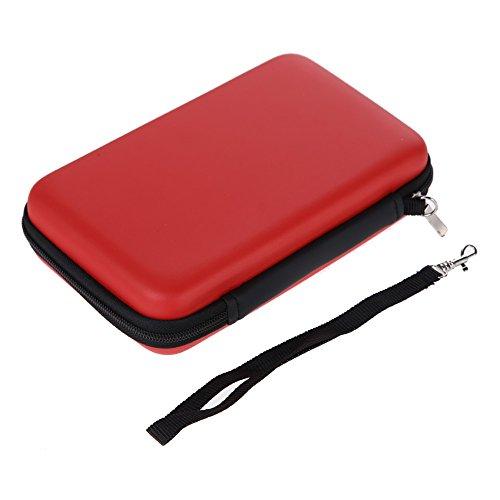 Demiawaking EVA Lagerung Reißverschluss Tasche mit Gurt Schutzhülle Abdeckungs Haut Gehäuse Deckel für Nintendo 3DS XL LL (Rot)