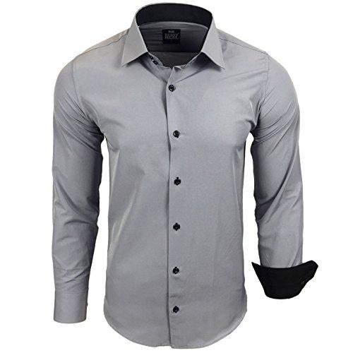 Rusty Neal Herren Kontrast Hemd Business Hochzeit Freizeit Slim Fit S bis 6XL Grau