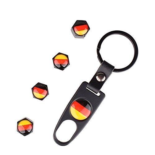 3D Ventilkappen passend für alle Modelle Eckig m. Schlüsselanhänger MZ Universal 4 Stück Deutschland (Harley-ball-kappe)
