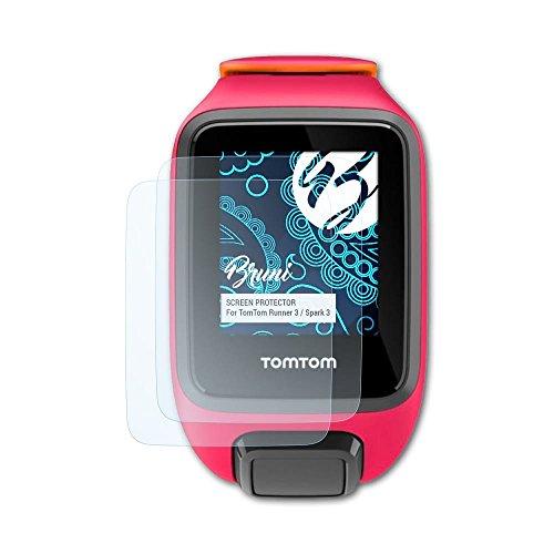 Bruni Schutzfolie für Tomtom Runner 3 / Spark 3 Folie, glasklare Displayschutzfolie (2X)