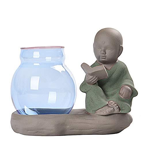 XOSHX Kreative Kleine Mönch Glasvase Keramik Ornamente Wasserpflanzanlage Desktop Grünes Wasser Wasserkulturbehälter