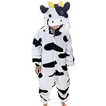 LSERVER-Pijama de los Niños Cosplay Traje Conjunto Franela Diseño de Dibujos Animados Vaca lechera S