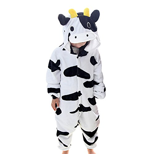 JT-Amigo Kinder Pyjama Strampler Schlafanzug Tier Kostüm für Halloween Karneval Fasching, Kuh Kostüm, Gr. 116/122 (Herstellergröße ()