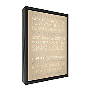 "Feel Good Art ""Sing Loud Giclee Printed Framed Canvas with Solid Black Wooden Frame Surround, Beige, 64 x 44 x 3 cm, Large"