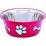 ELTON Paw & Bone Cutie Bowls (Red) Dog Bowls Export Quality Inside Stainless Steel Dog Food Bowl Feeder Bowls Pet Bowl for Fe