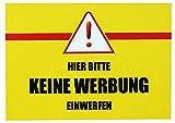 5 x Hier bitte keine Werbung Einwerfen - Briefkasten Aufkleber Wetterfest Top Qualität - Gelb