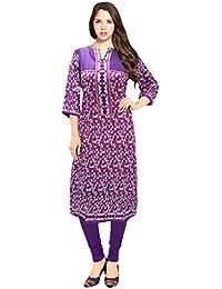 Navyataa Women's Purple Cotton Print, Button Work Kurti