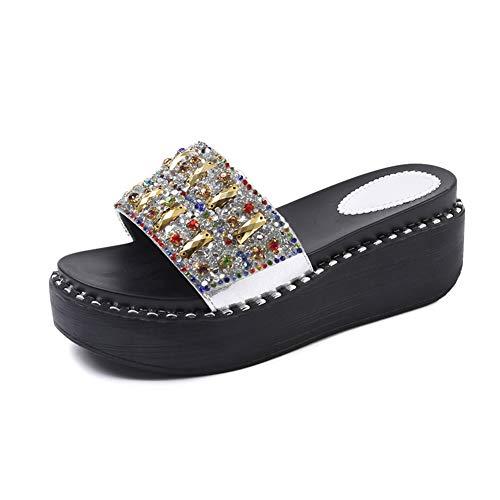 DierCosy Frauen Pantoletten Sandalen Shiny Studs Flip Flops Sommer Plateau Pantoletten Sandalen Peep Toe-Strand-Schuhe -