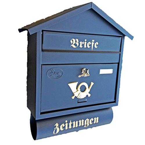 Naturholz-Schreinermeister Großer Briefkasten/Postkasten XXL Schwarz Matt mit Zeitungsrolle...