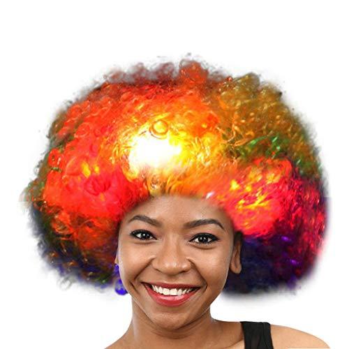 (kashyk Ostern Perücke, LED Flash Perücke Perücke, Regenbogenfarbige Lockenperücke, Clownkleid Perücke, Maskerade synthetische Perücke Cosplay Perücke Fan Perücke)