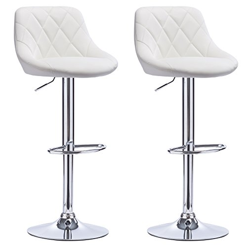 WOLTU BH23ws SET of 2 Bar Stools Breakfast Kitchen Chairs Stools with Padded Faux Leather Seat Backrest Chrome Footrest and Base Dining Chairs for Breakfast Bar and Kitchen Island Counter Kitchen and Home 360 Degree Swivel Barstools White Seat Adjustable