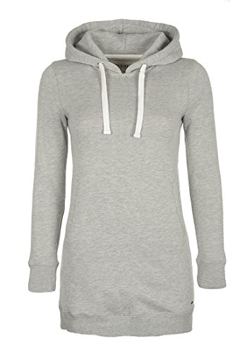 DESIRES Derby Hood Long Damen Langer Kapuzenpullover Hoodie Longpullover mit Kapuze und Cross-Over-Kragen, Größe:XL, Farbe:Light Grey Mel (8242)