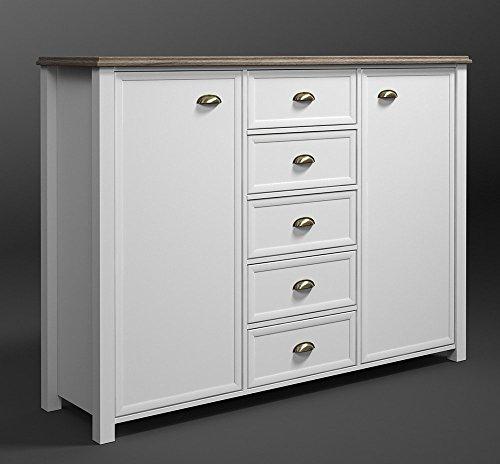 Kommode in weiß mit Applikationen in San Remo-Eiche-Nachbildung, mit 2 Türen und 5 Schubkästen, Maße: B/H/T ca. 159/116/43 cm