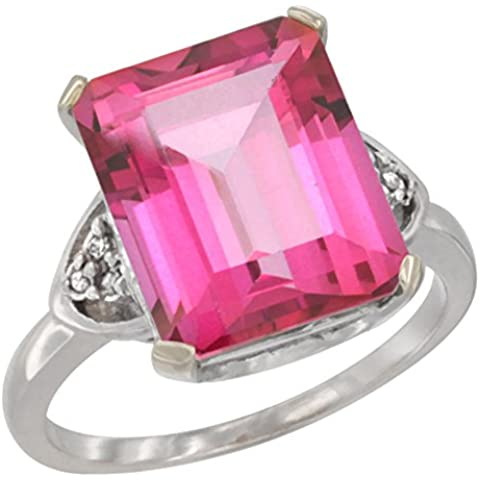 Revoni 14ct de oro blanco Natural de rosa anillo de 12 x 10 mm Topaz charreria acento de diamante