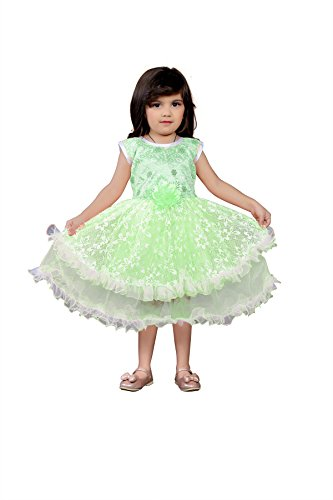 White World Baby Girls Green Color Birthday Party wear Frock Dress-8-9 Years