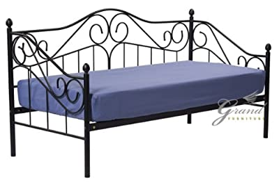 Exclusive Joseph Victorian Style 3FT Single Black Metal Day Bed Guest Sofa Bed Frame Bedstead