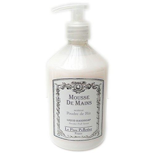 Le Père Pelletier LPP : Distributeur 500ml Mousse de Mains parfum - Flacon Pompe pour Salle Bain Cuisine (Poudre de Riz)