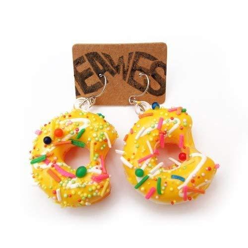WeAreAwesome Donut Ohrringe - 2 Stück - Ohrstecker Kitsch Party Sweet Doughnut Sugar Ohrring, Farbe:Ohrringe Gelb ()