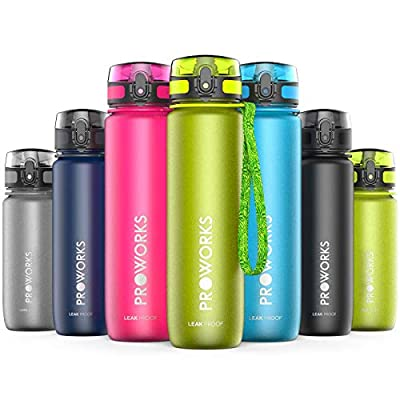Proworks Trinkflasche, BPA Frei Tritan Wasserflasche Auslaufsicher, Fitness Flasche für Sport, Joggen, Radfahren, Wandern und mehr, Water Bottle 0.5 Liter (18oz) / 1 Liter (36oz)
