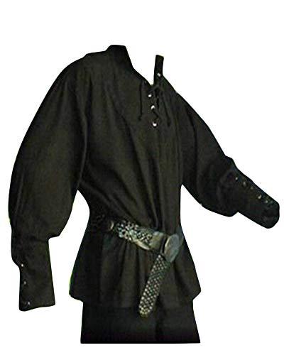 Männer Lang Mittelalter Hemd Schnürhemd Stehkragen Gothic Steampunk Viktorianisch T-Shirt Ohne Gürtel Schwarz 3XL