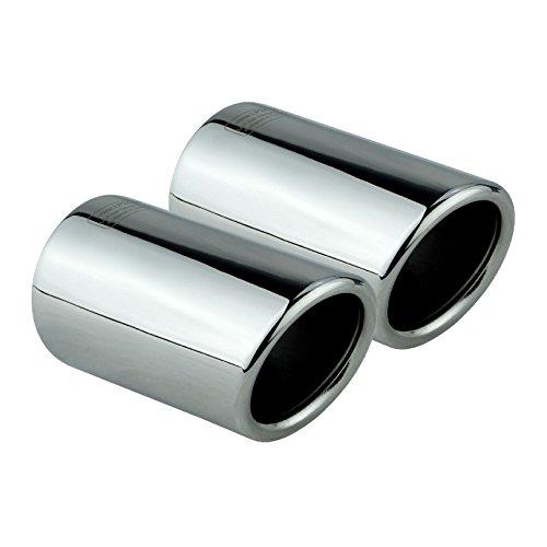 L&P A290 2 Auspuffblenden Auspuffblende Edelstahl spiegel poliert Chrom Plug&Play Endrohrblenden Endrohrblende Auspuff Blende Endrohre