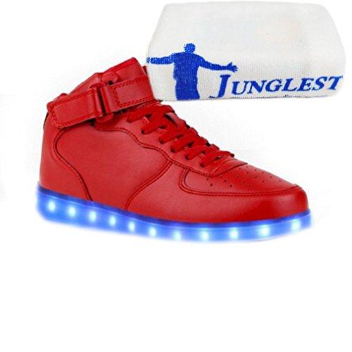 [Present:kleines Handtuch]JUNGLEST® 7 Farbe Lackleder High Top USB Aufladen LED Leuchtend Sport Schuhe Sportschuhe Sneaker Turnschuhe für Unisex-Erwachsene H High Top mit Velcro Rot