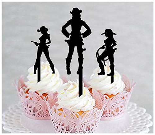 Topper, Hochzeit, Geburtstag, Party, schöne Cowgirls, Western-Silhouette, 10 Stück ()