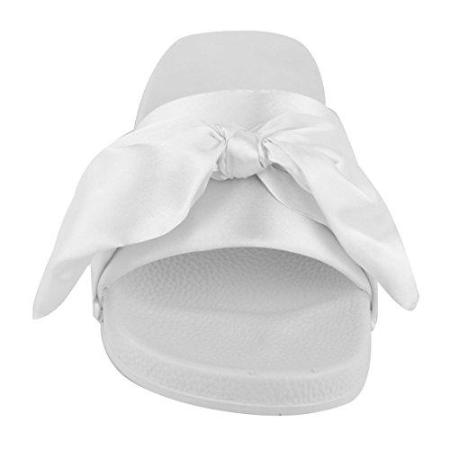 DONNA FERMACAPELLI Basse SCIVOLOSI Sandali SLIP ON sabot pantofola SCARPE ESTIVE TAGLIA bianco satin