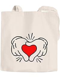 c4dfd3f79a5ea Jutebeutel Comic Hände Hands Herz Heart Baumwolltasche Stoffbeutel  Tragetasche Moonworks® natur unisize