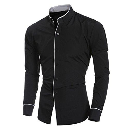 Beauty top beautytop camicia da uomo maglietta camicie slim fit elegante manica lunga t-shirt top (nero, l)