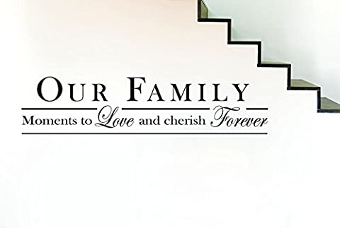 Our Family Moments To Love And Cherish Forever Wall Stickers Art Decal - Grand (Hauteur 27cm x Longueur 116cm) Or Brillant