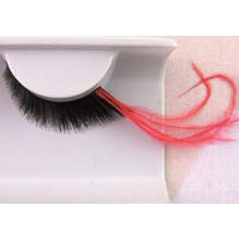 Eye Lash Set piuma lunga Rosso e Nero - Bald Head Costume