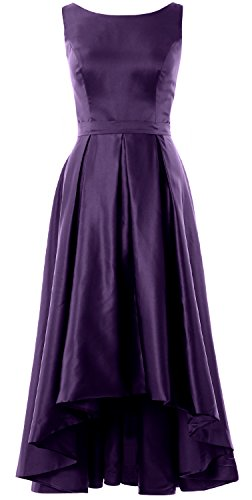 MACloth Elegant Bateau Neck High Low Cocktail Dress Wedding Party Formal Gown Eggplant