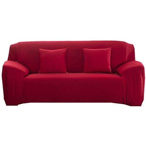 Sofa Bezug 1234-Sitzer-Stoffüberwurf, Schonbezug, elastischer Überwurf für Sofa, Sessel, Couch zum Schutz, Farbe: pure, rot, 2 Seater:145-185cm