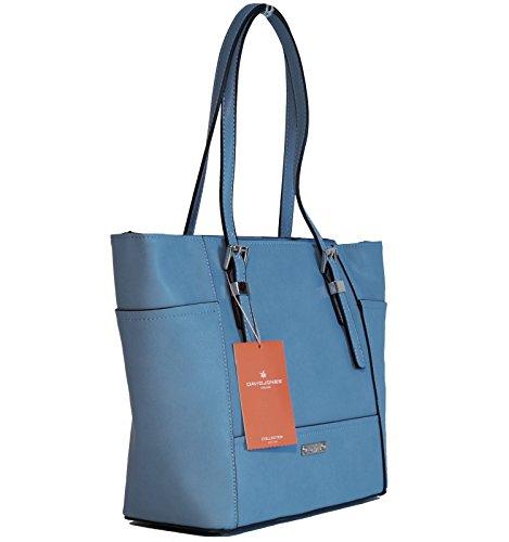 David Jones Borsa donna ecopelle modello shopper Azzurro