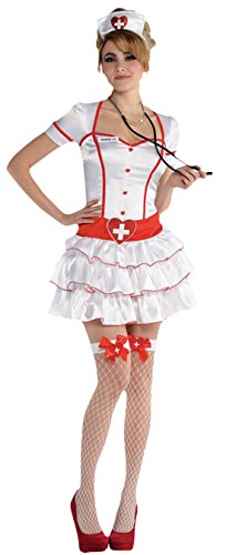 Luxuspiraten - Damen Krankenschwester Nurse Komplett Kostüm Karneval, Weiß, Größe M (Kappe Netzstrümpfe, Perücke)