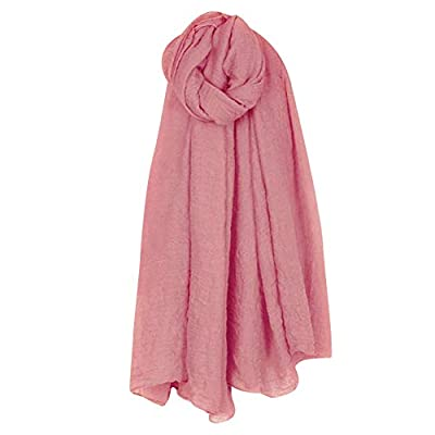 MyMei Cotton Linen Wrap Scarf Fashion Solid Color Crinkle Style Soft Shawl Long Stoles for Girls and Women
