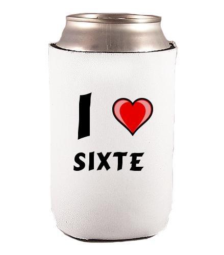 Couverture de bouteilles personnalisée en néoprène avec J'aime - Sixte inscription (Noms/Prénoms)