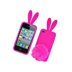 Coque+support silicone lapin rose bonbon , pour Iphone 4/4S