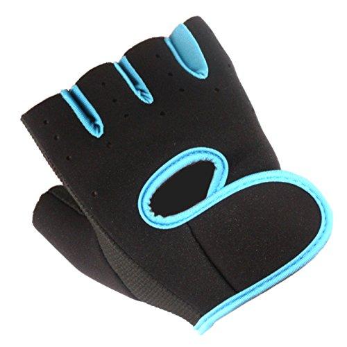 Fitness Handschuhe Trainingshandschuhe [ULTRALEICHT] - Premium Fitnesshandschuhe für Kraft-Training / Gewicht-Heben / Bodybuilding (Schwarz / Blau, M)