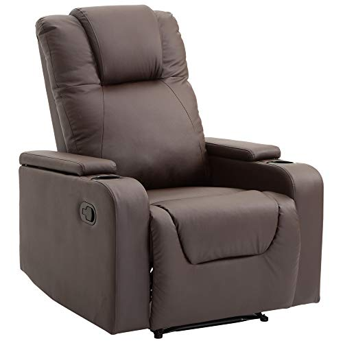 HOMCOM Relaxsessel Fernsehsessel Couch-Sessel Liegesessel mit 2 Getränkehalter Braun L85 × B98 × H103 cm