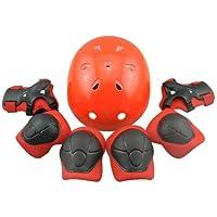 Tourwin - Juego de coderas, muñequeras, rodilleras y casco protectores para niños, para patinaje y ciclismo, 7 unidades, Infantil, rojo
