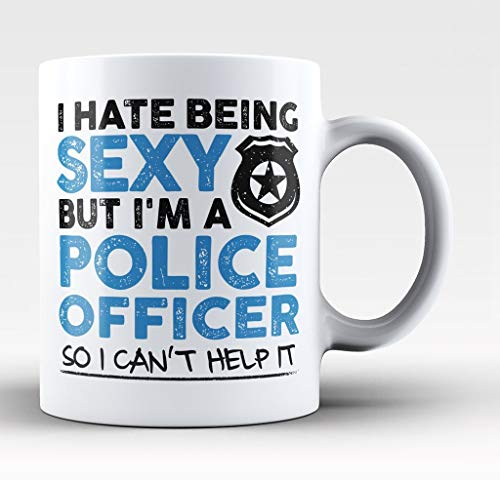 LUOBOGAN Sexy Police Officer Can't Help It 11-oz Cop Coffee Mug Cup High-Fired White Ceramic with Large Easy-Grip Handle is Idea for Husbands, Dad, Fathers Day, Grandfathers Uncles, Brothers, Papa