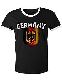 Cooles Herren Damen WM 2018 T-Shirt Deutschland Flaggen Design Vintage Look