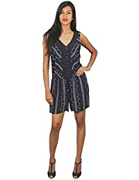 Old Khaki Printed Cotton Viscose Casual Women's Girls Sleeveless Dungree Dress in Navy Blue and White Color with Contrast & Free Shipping