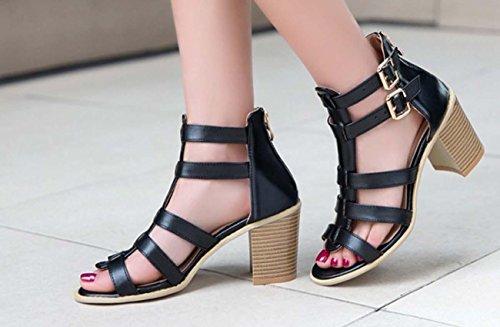 NobS Chaussures de style romain Sandales de grande taille 40-43 Taille Black