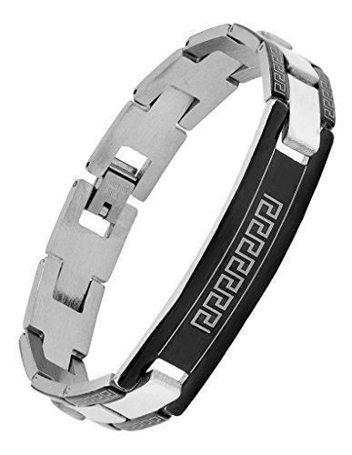 Die Jewelbox italienischem Biker ID-Armband Edelstahl Bordüre schwarz rhodiniert für Jungen Herren (Versace Armband Männer)
