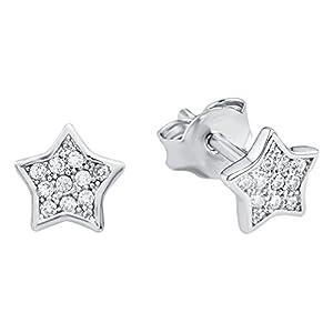 Amor Kinder-Ohrstecker Mädchen Sterne 925 Silber rhodiniert Zirkonia weiß – 467049